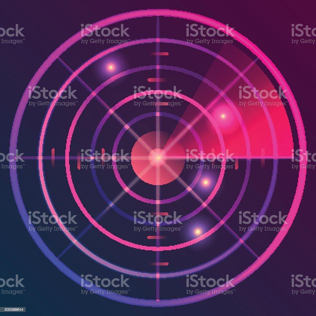 Digital radar vector art illustration