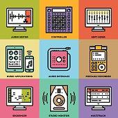 Digital Recording Music Studio. Line Design Color Icon Set.
