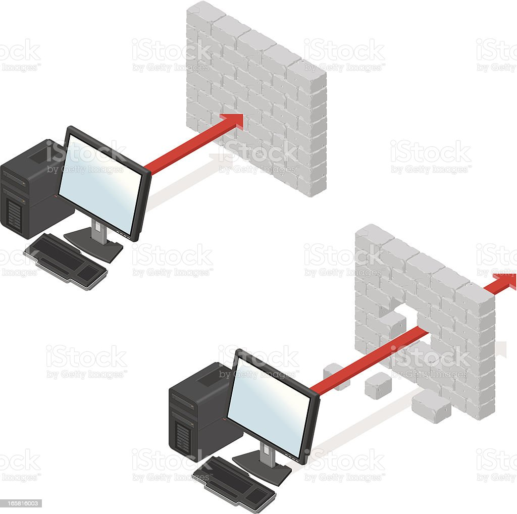 Digital rendering of computer security firewall royalty-free stock vector art