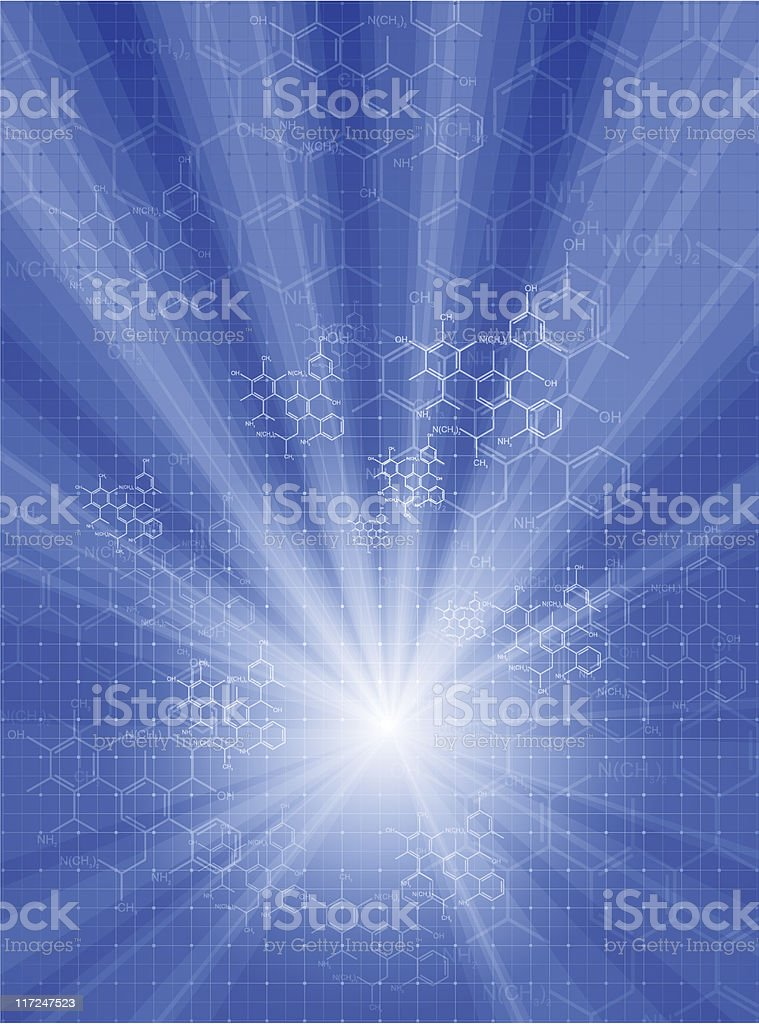 Digital rendering of molecule shapes royalty-free stock vector art