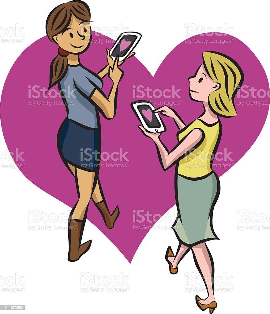 Digital Romance vector art illustration