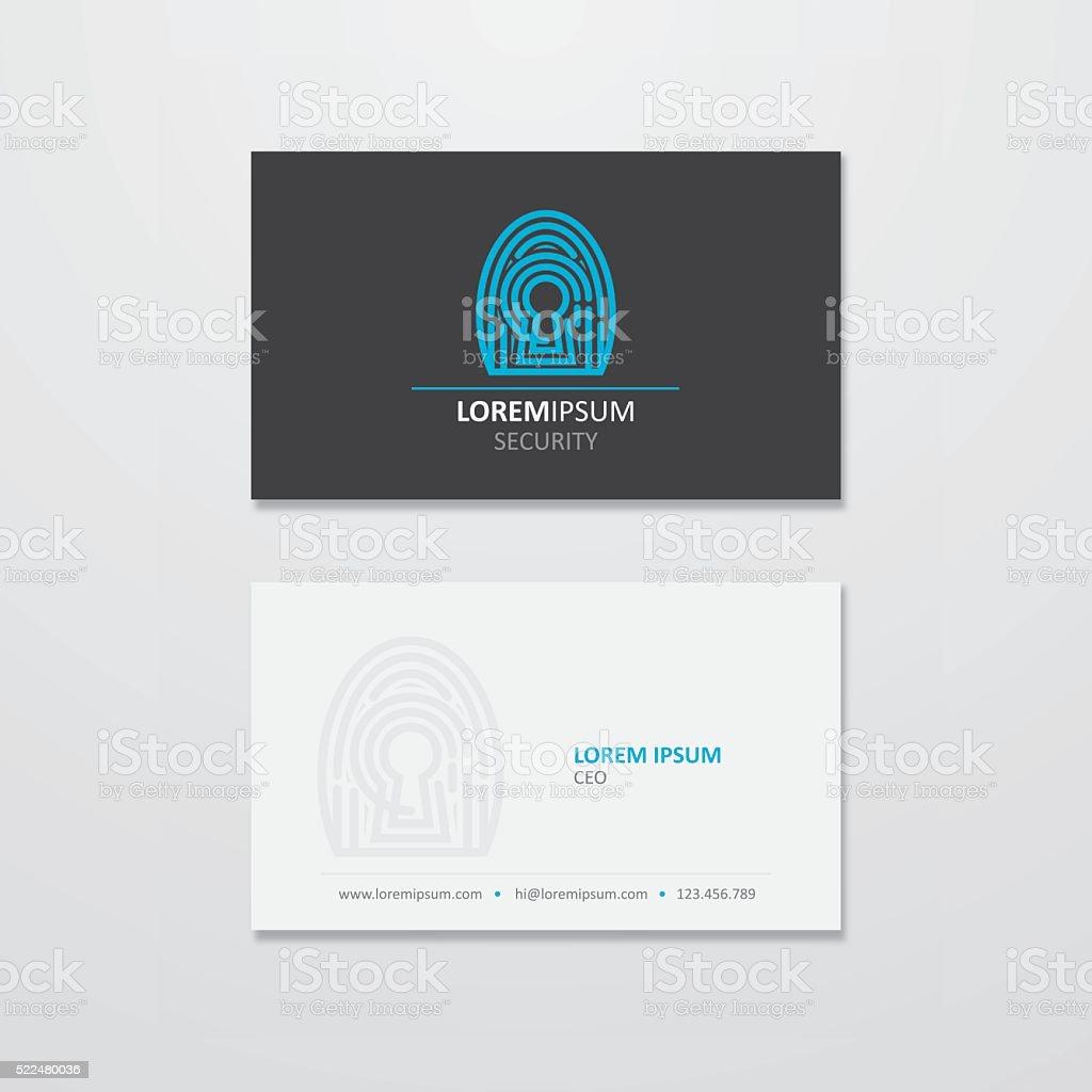 Digital security logo and business card design vector art illustration