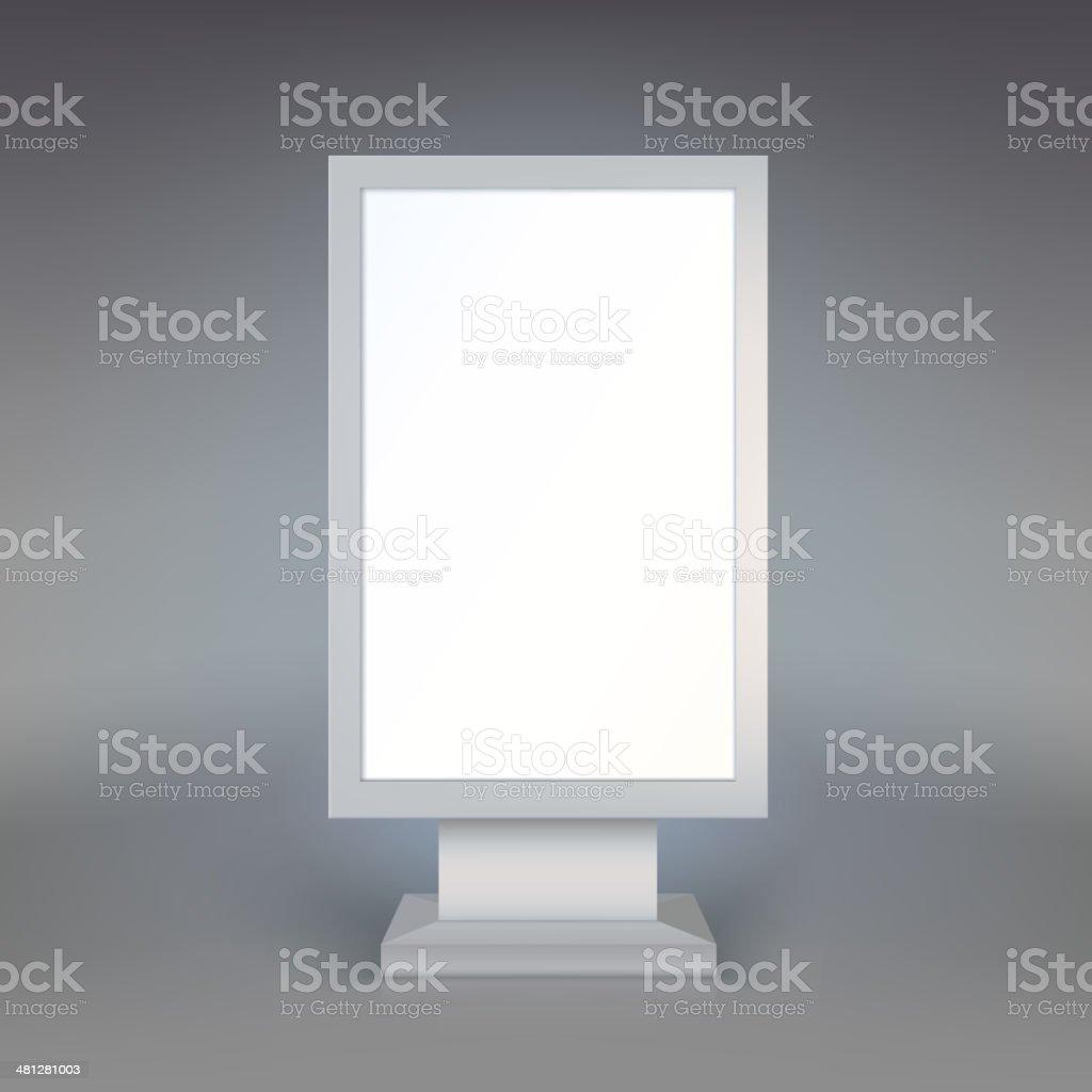 Digital Signage. Blank advertising billboard on gray background vector art illustration