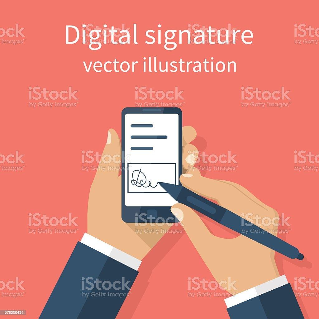 Digital signature on smartphone. vector art illustration