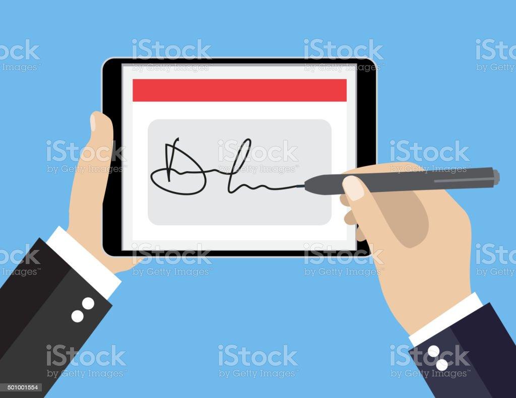Digital signature on tablet vector art illustration