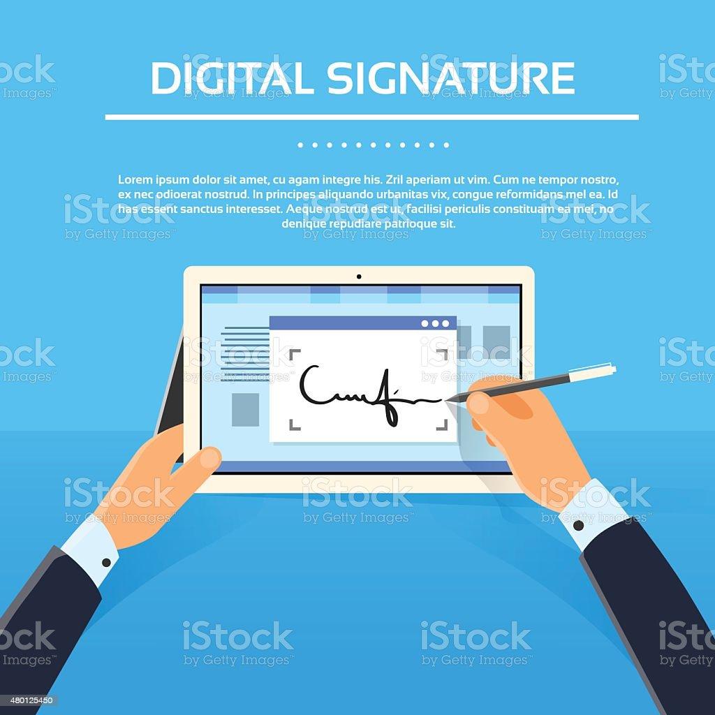 Digital Signature Tablet Computer Businessman Hands Sign Up vector art illustration