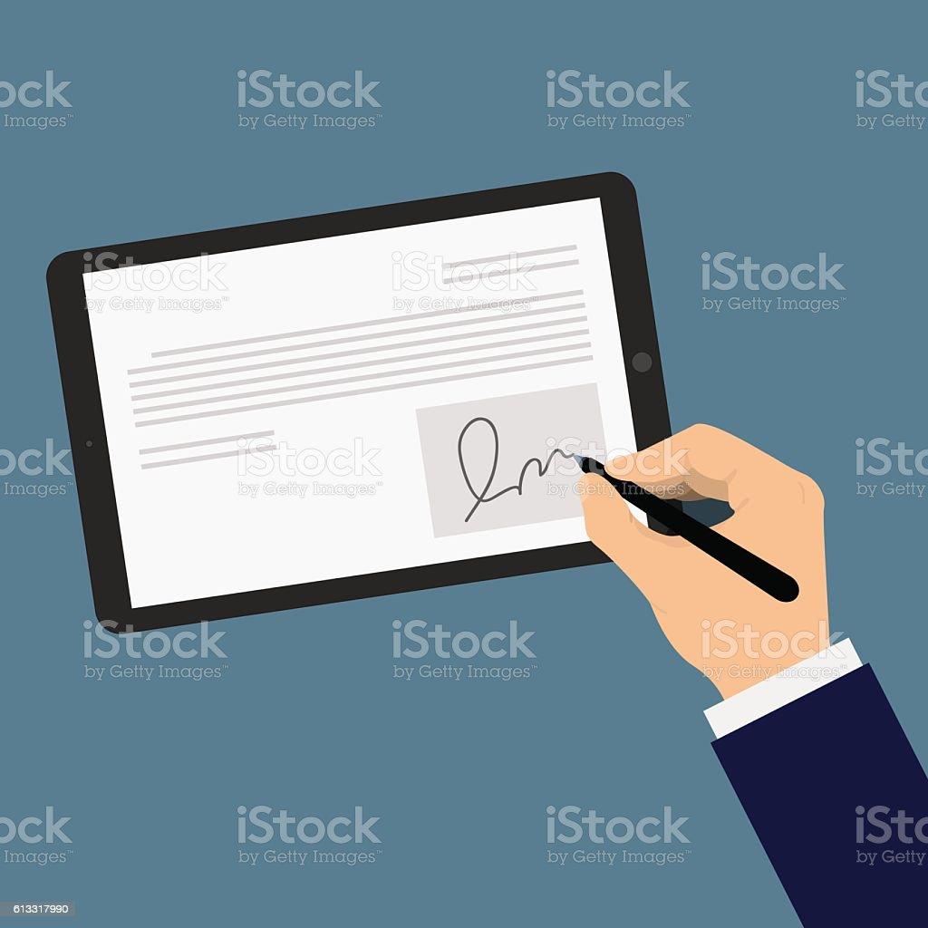 Digital signature tablet vector art illustration