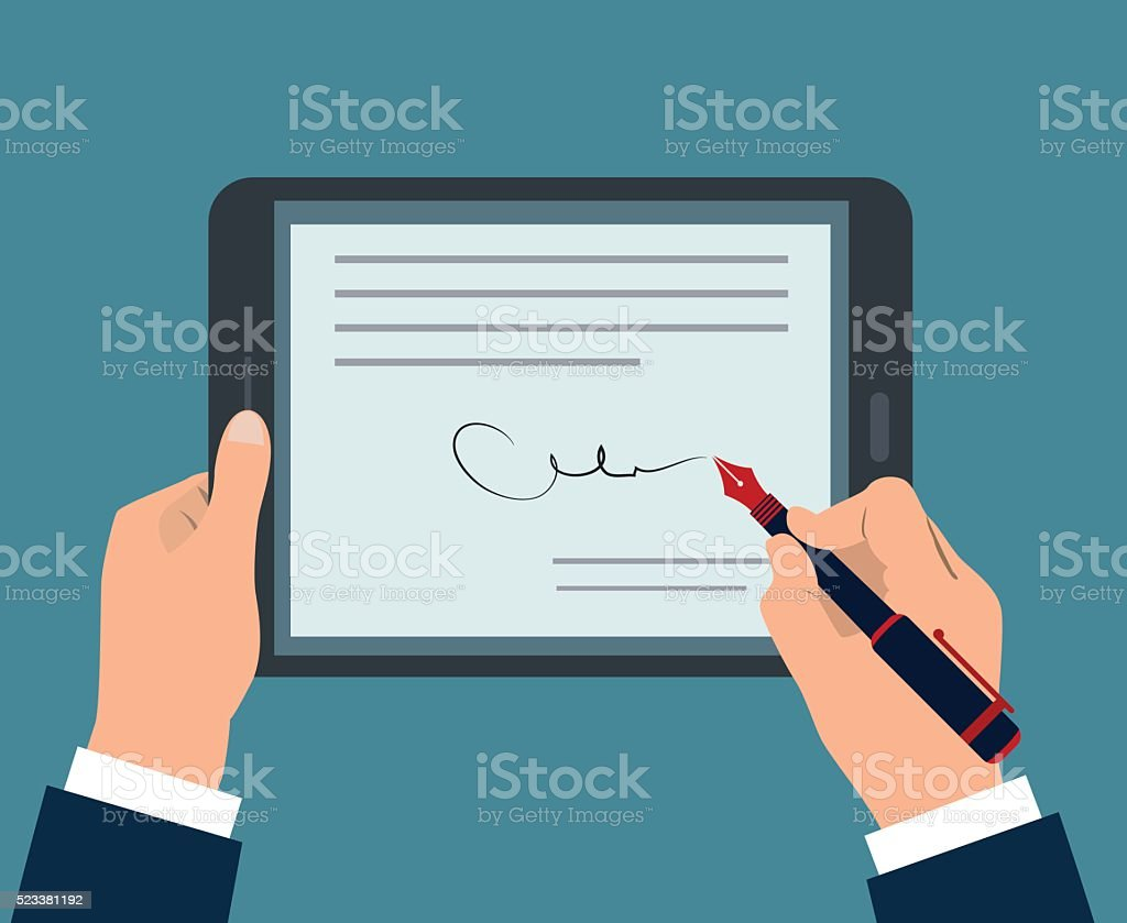 digital signature vector art illustration