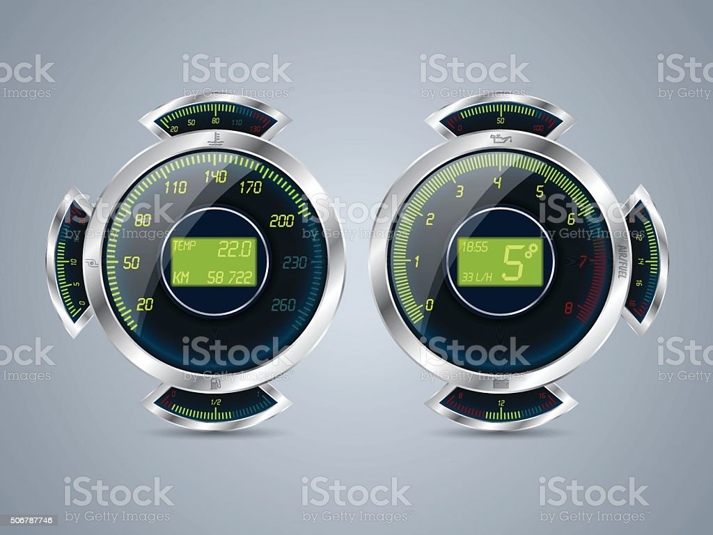 Digital speedometer rev counter with other gauges vector art illustration