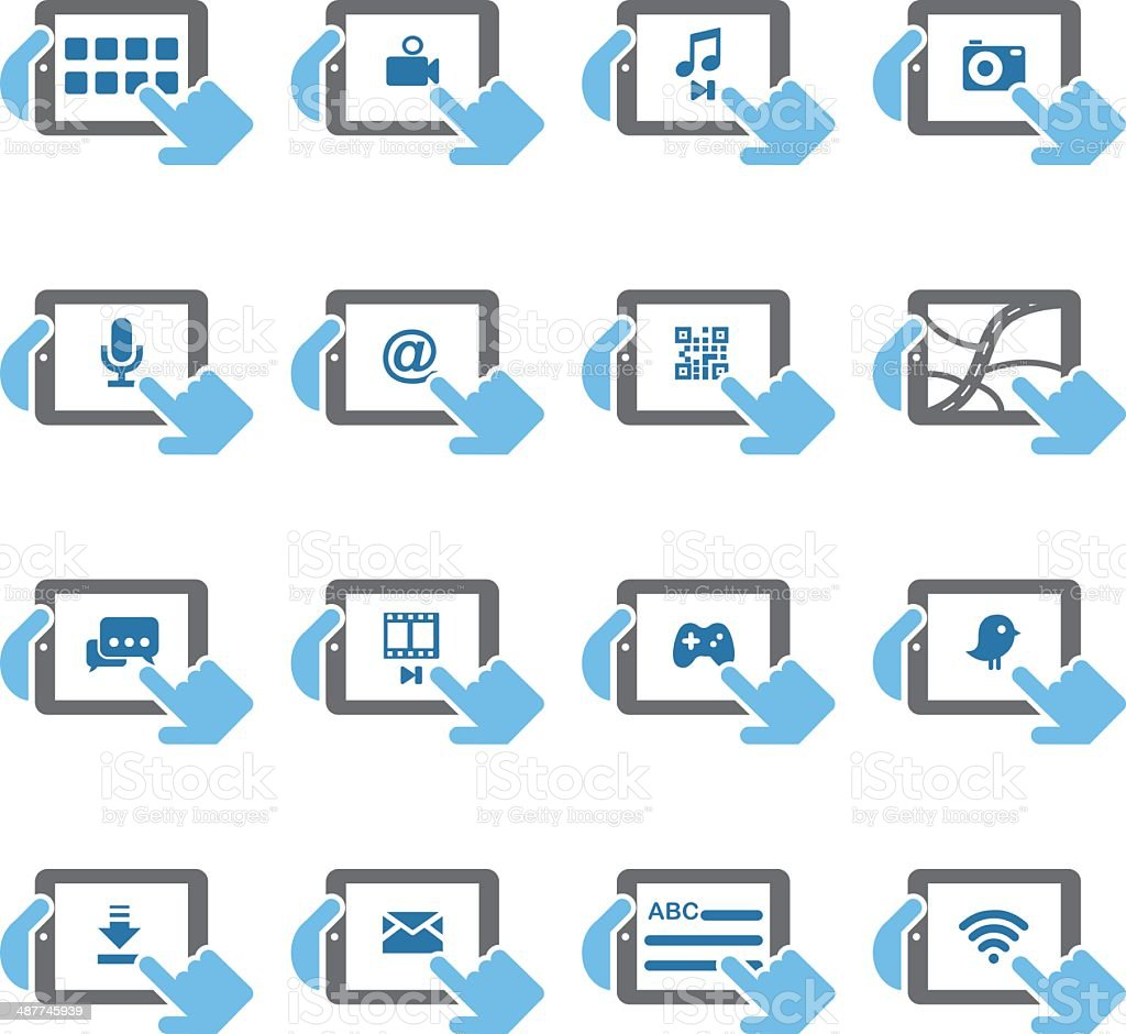 Digital Tablet Functions icons - Color Series | EPS10 vector art illustration