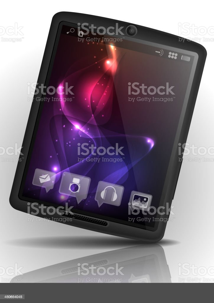 Digital tablet pc with purple screen. royalty-free stock vector art