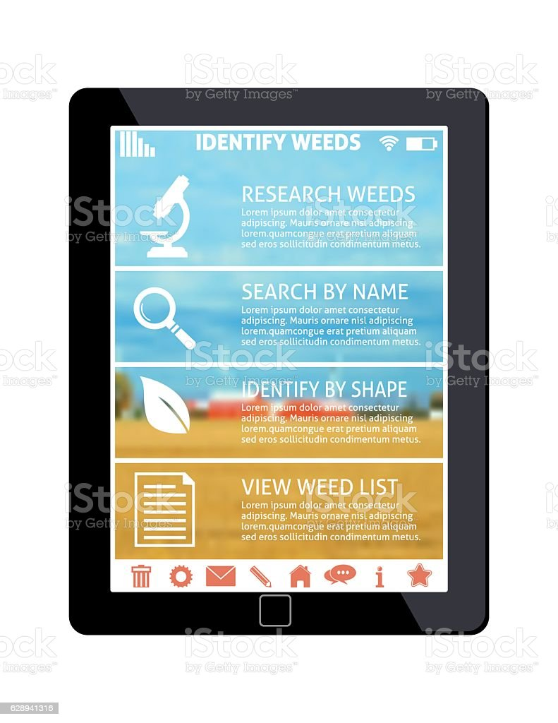 Digital Tablet With an Agriculture Software Application On The Screen vector art illustration
