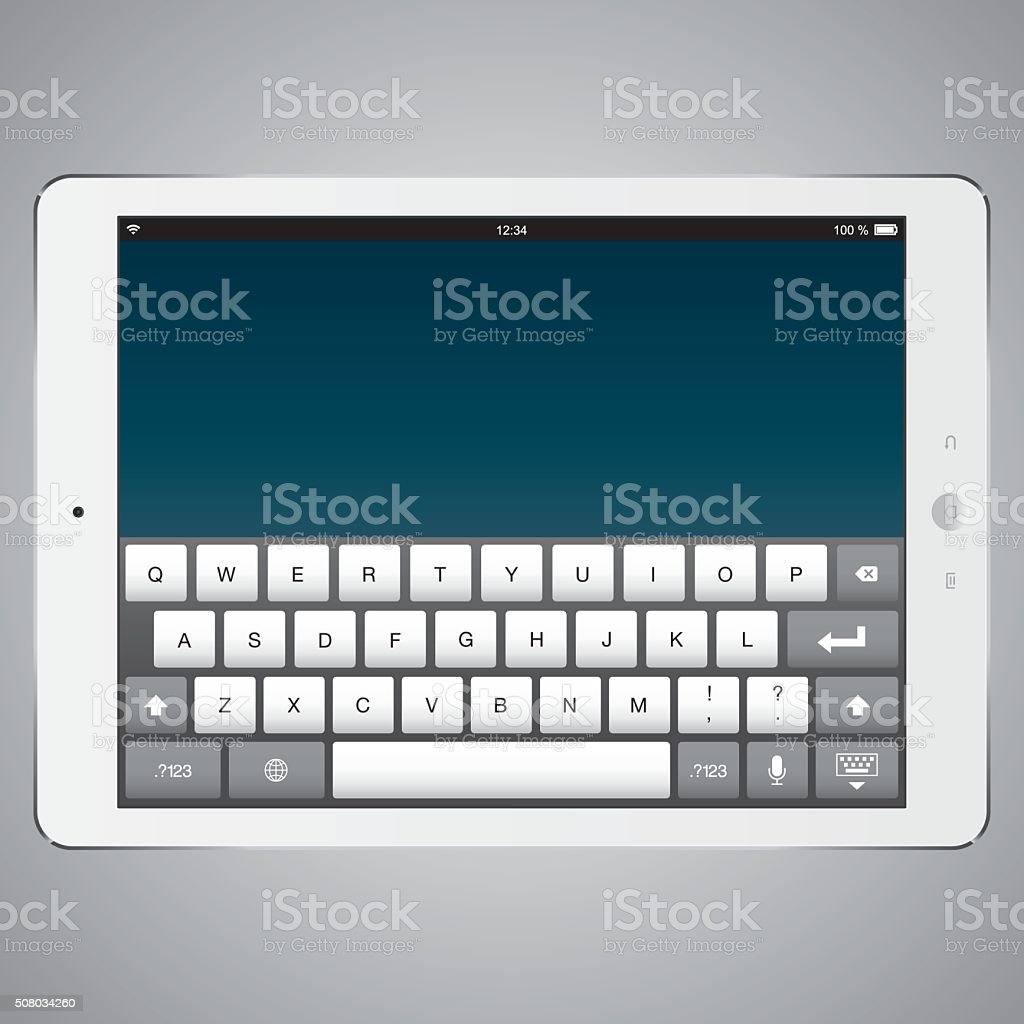 Digital Tablet with digital computer keyboard screen vector art illustration