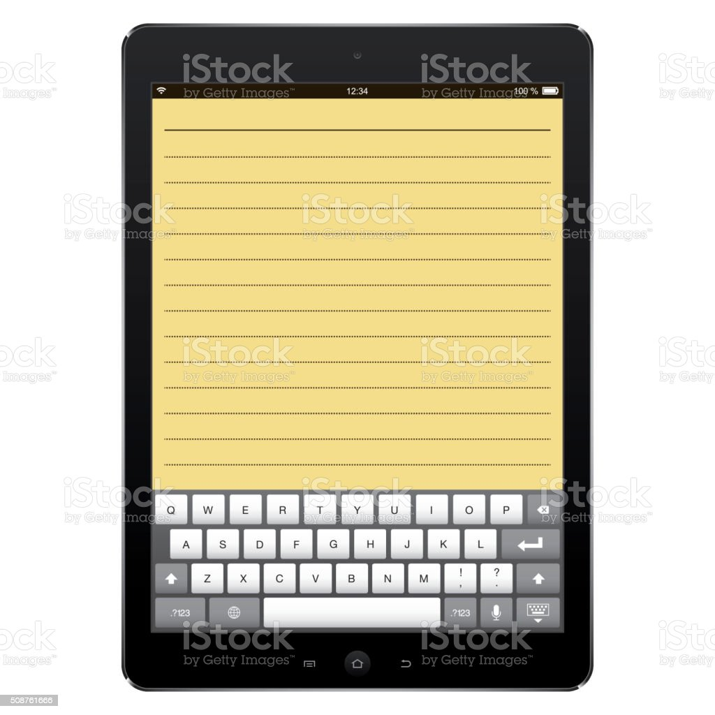 Digital Tablet with digital computer keyboard screen vector art illustration