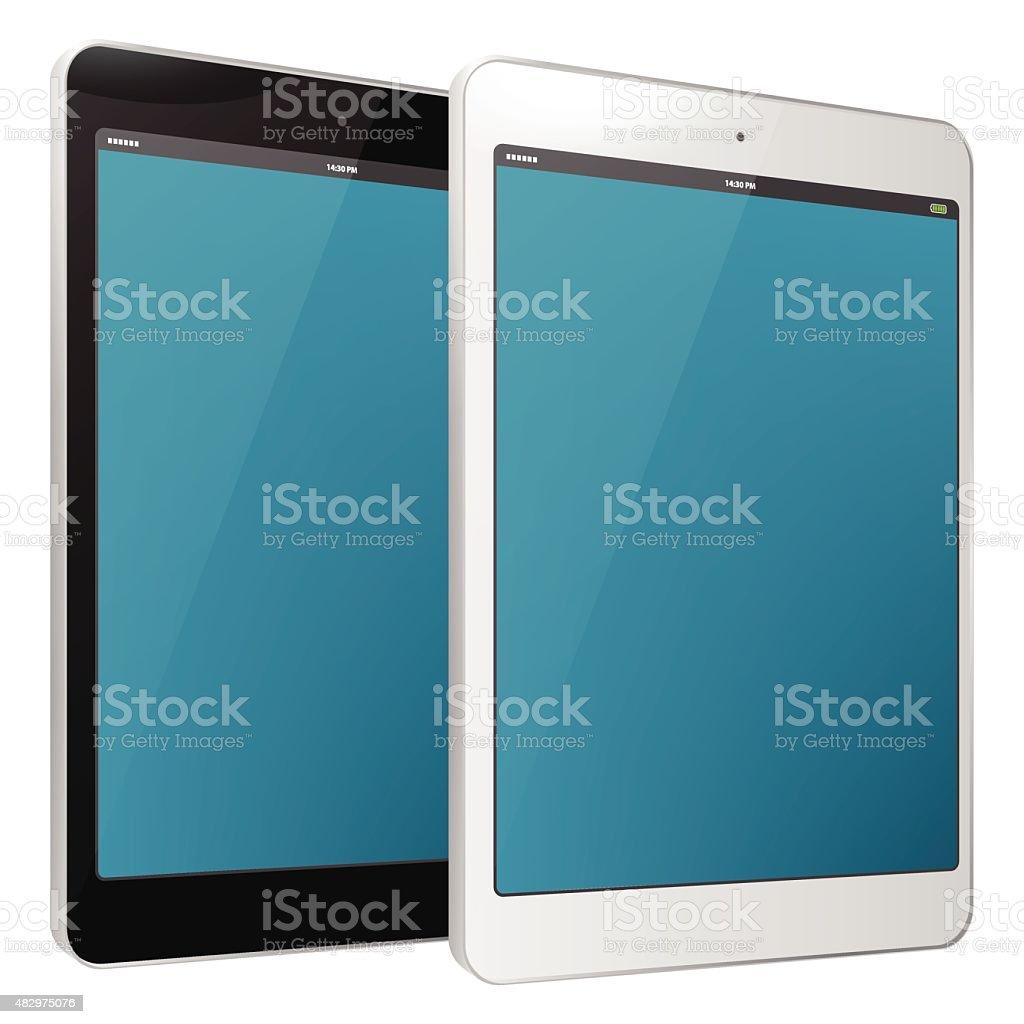 Digital Tablets (PC) - Black and white. vector art illustration