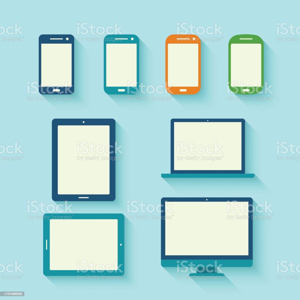 Digital tablets with long shadow vector art illustration