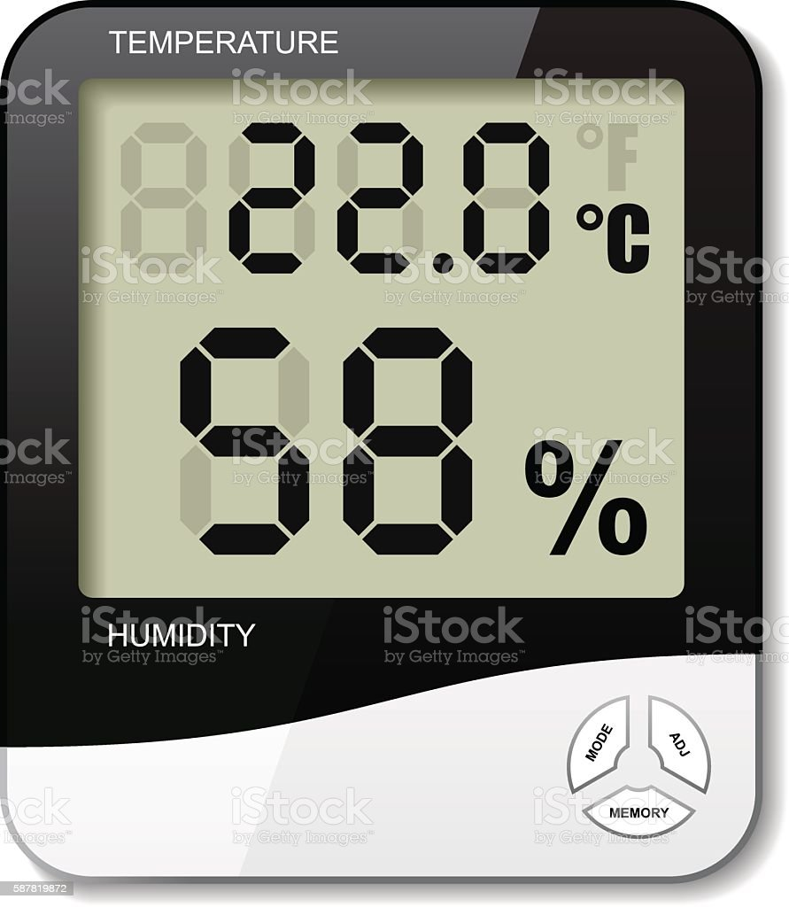 digital thermometer hygrometer humidity icon vector art illustration