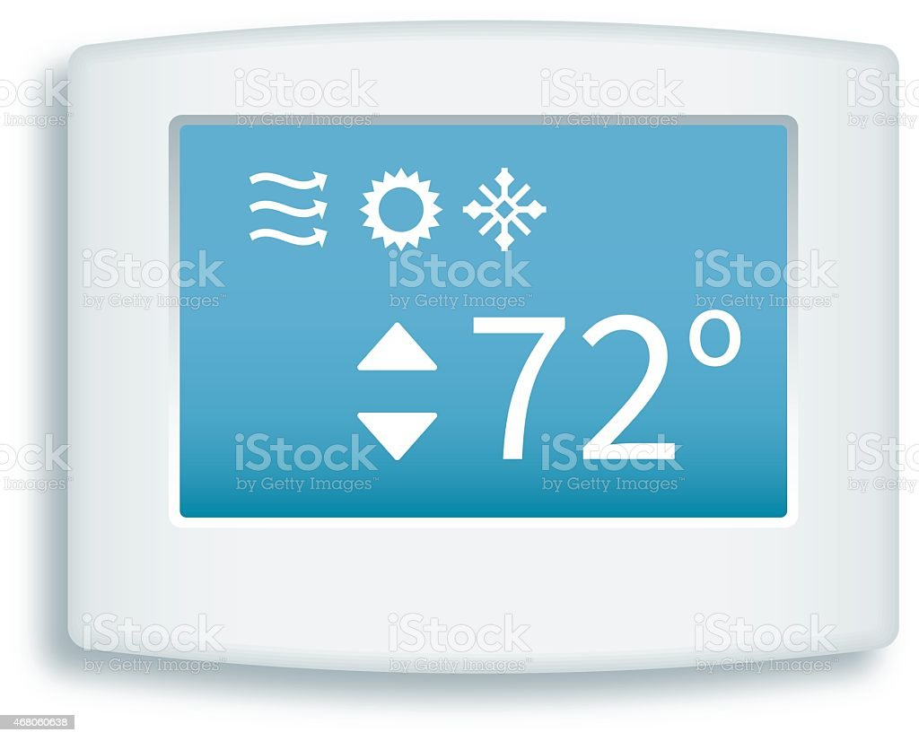 Digital Touch Screen Thermostat vector art illustration