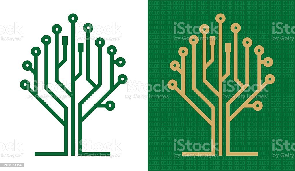 Digital tree vector art illustration