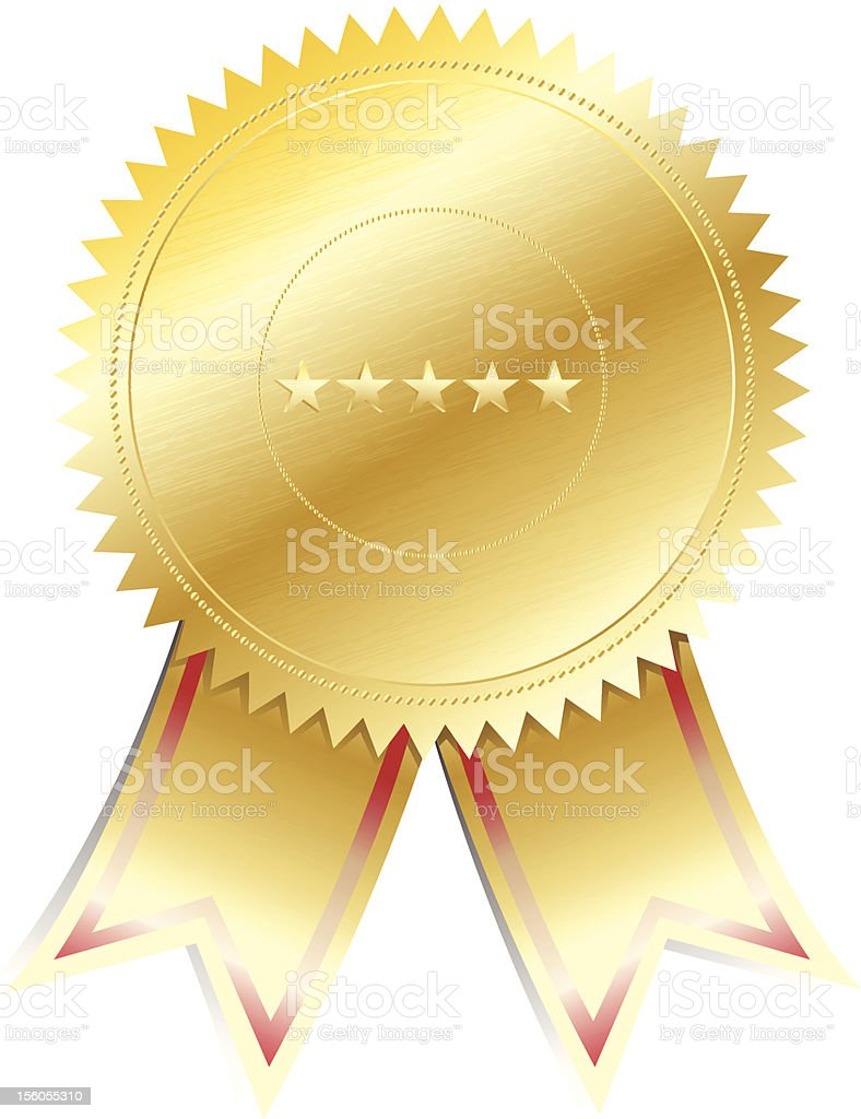Digital vector of a golden seal with 5 stars royalty-free stock vector art