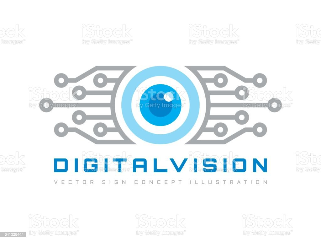 Digital vision - vector template concept illustration. Abstract human eye creative sign. Security technology and surveillance. Design element. vector art illustration