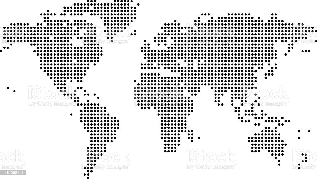 digital world map vector art illustration