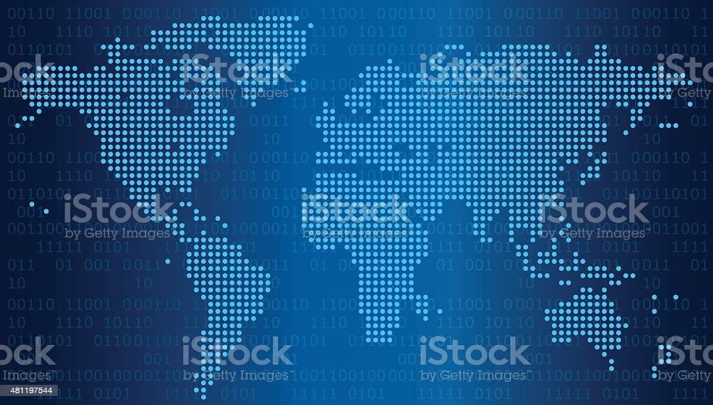 digital world map vector art illustration