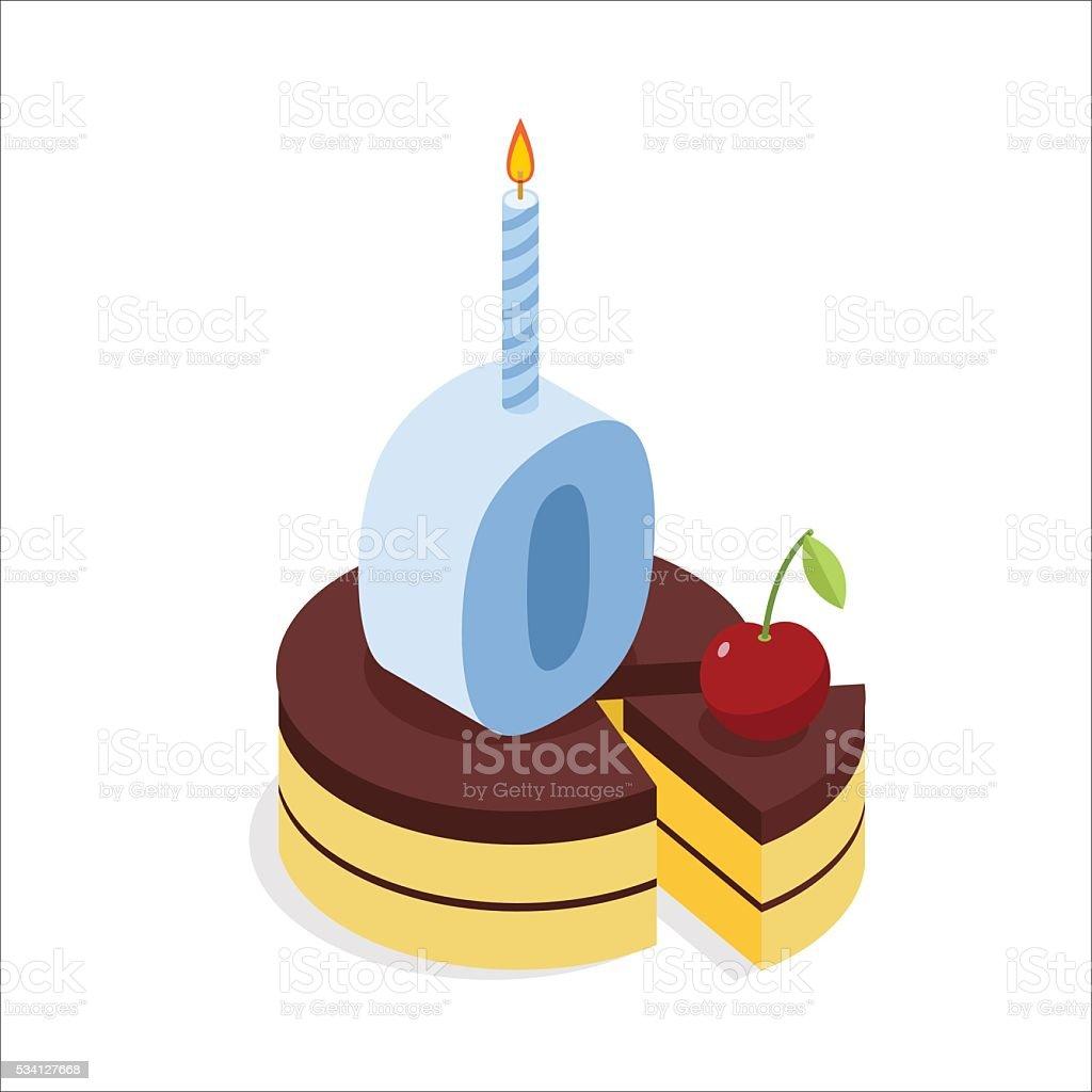 Digital zero birthday chocolate cake. Zero with candle. Celebrat vector art illustration