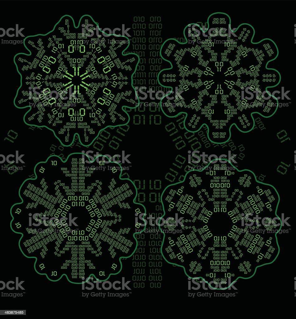 Digital/Binary Snowflakes of Zeros and Ones vector art illustration