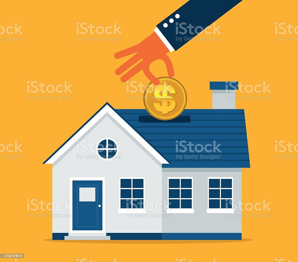 Digitla design of a blue house and a hand inserting a coin vector art illustration