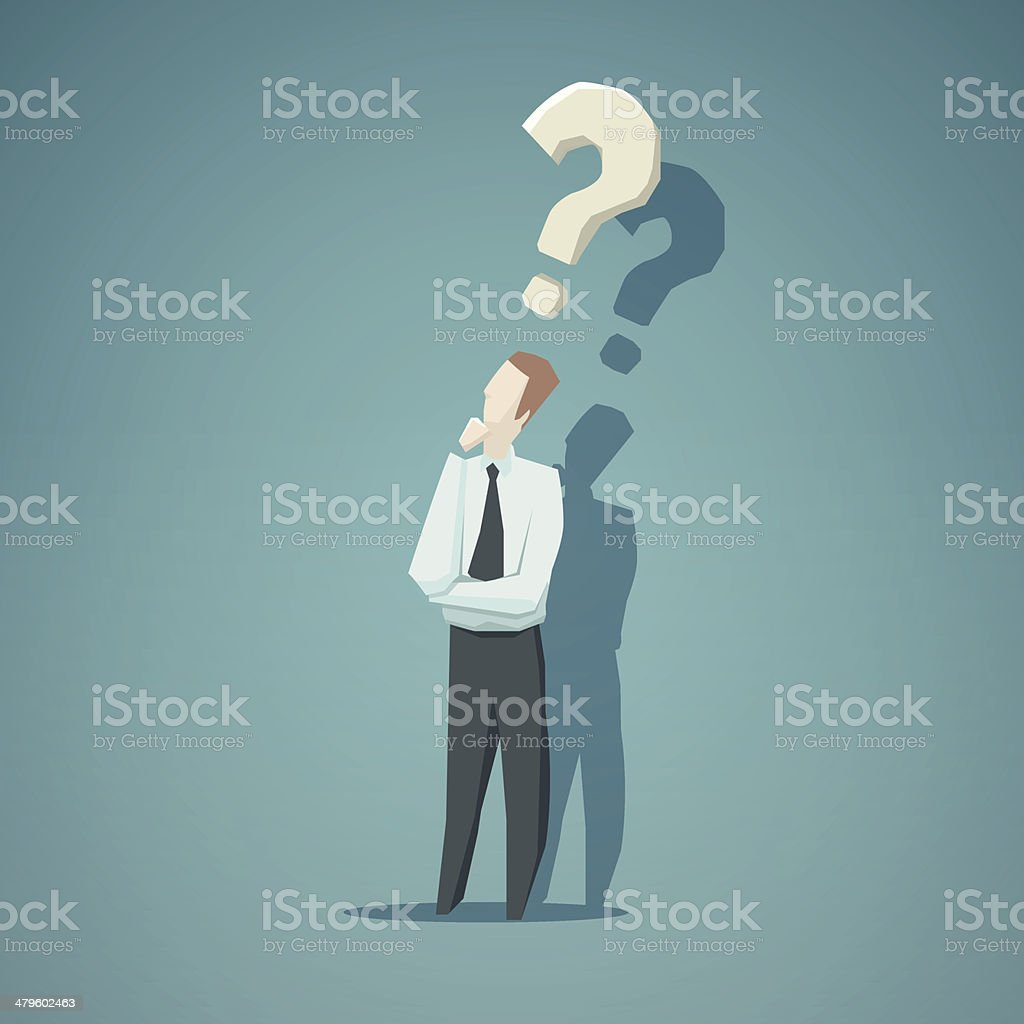 Dilemma of businessman vector art illustration