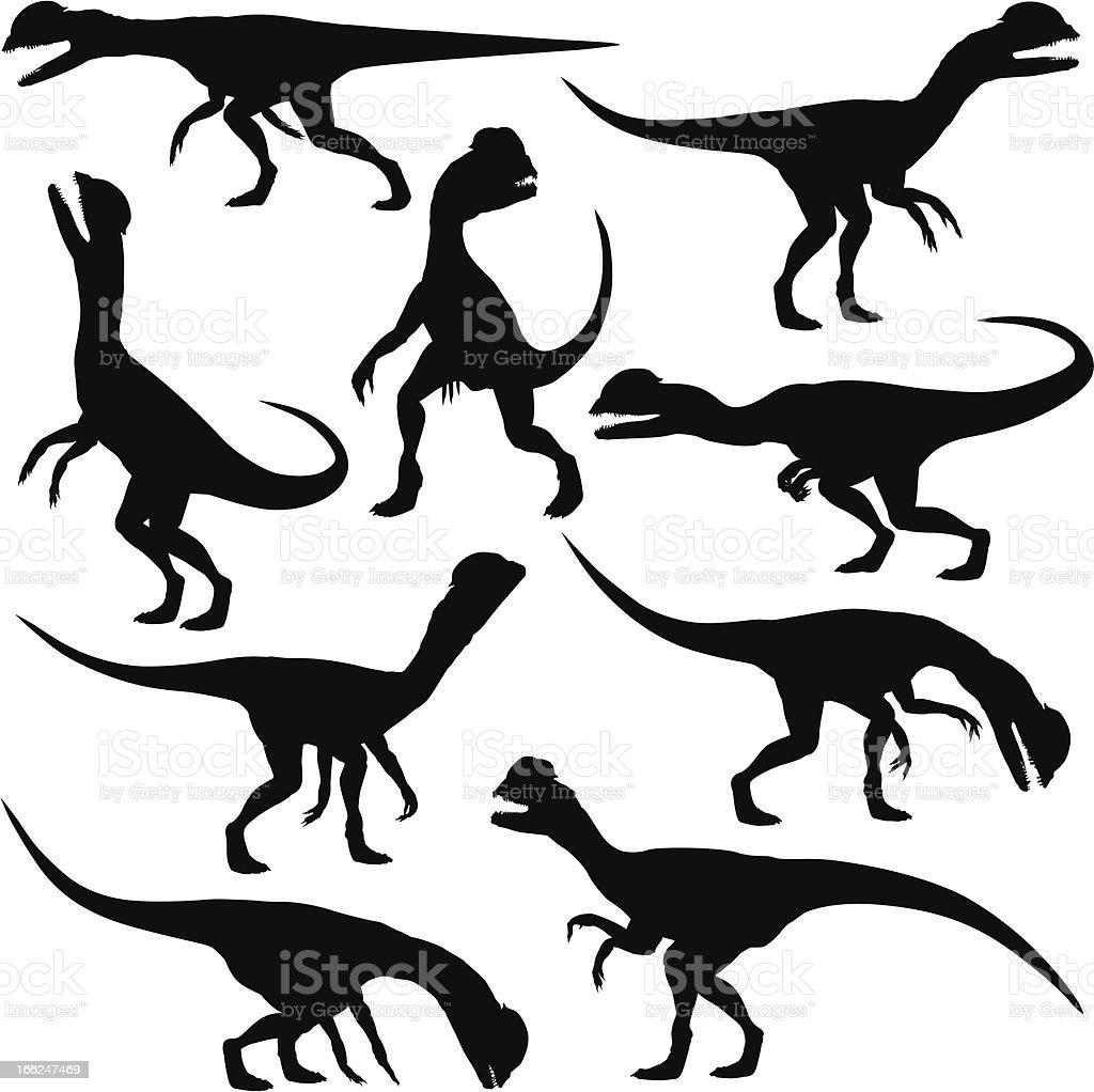 Dilophosaurus dinosaur royalty-free stock vector art