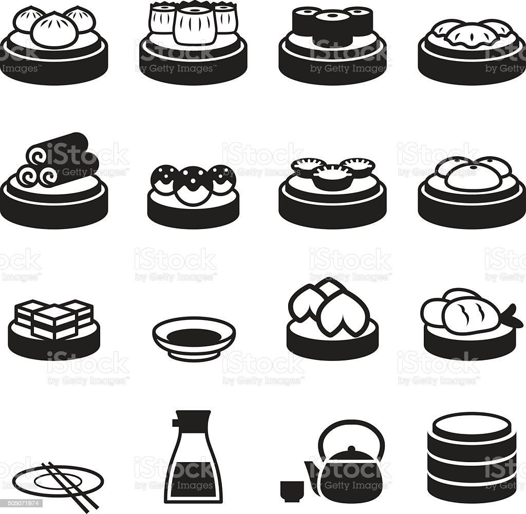 Dim sum & japanese food icons vector art illustration
