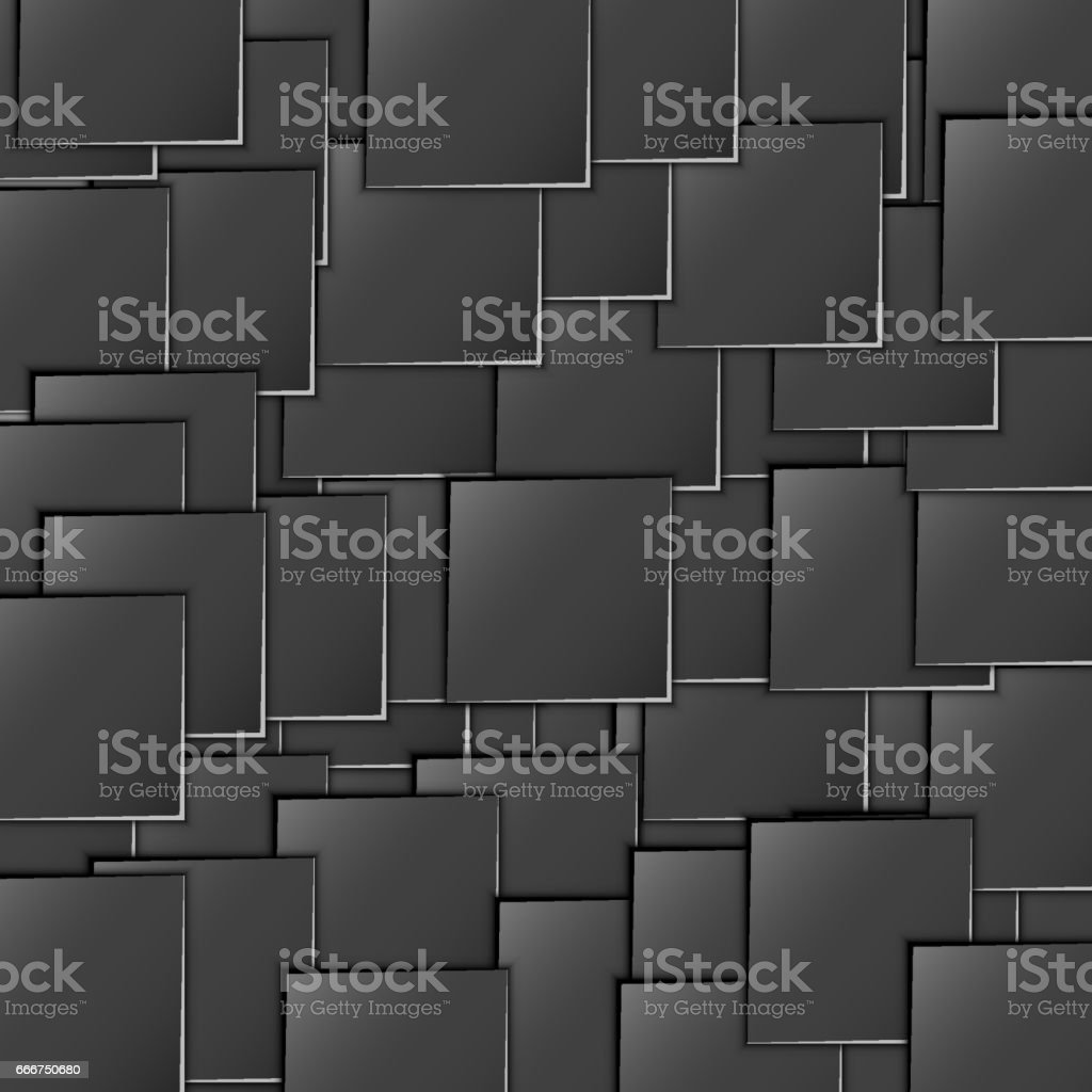 Dimensional, flat, black squares are scattered throughout the background of the illustration. Many squares are evenly arranged. Simple design. Wallpapers for web sites vector art illustration