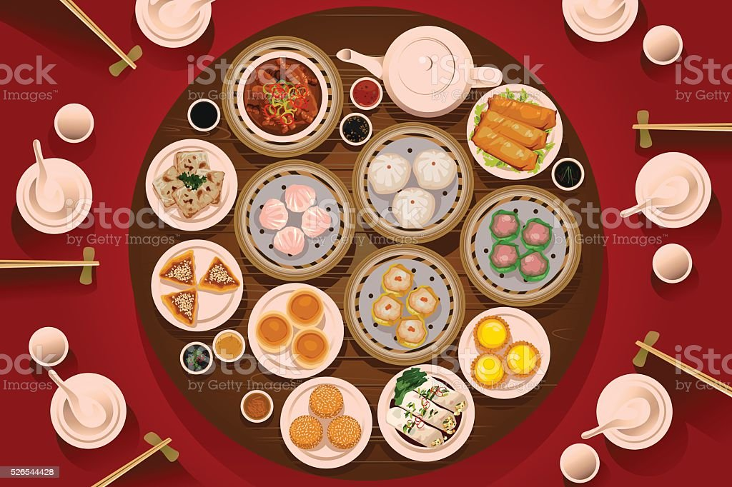 Dimsum Food on the Table vector art illustration