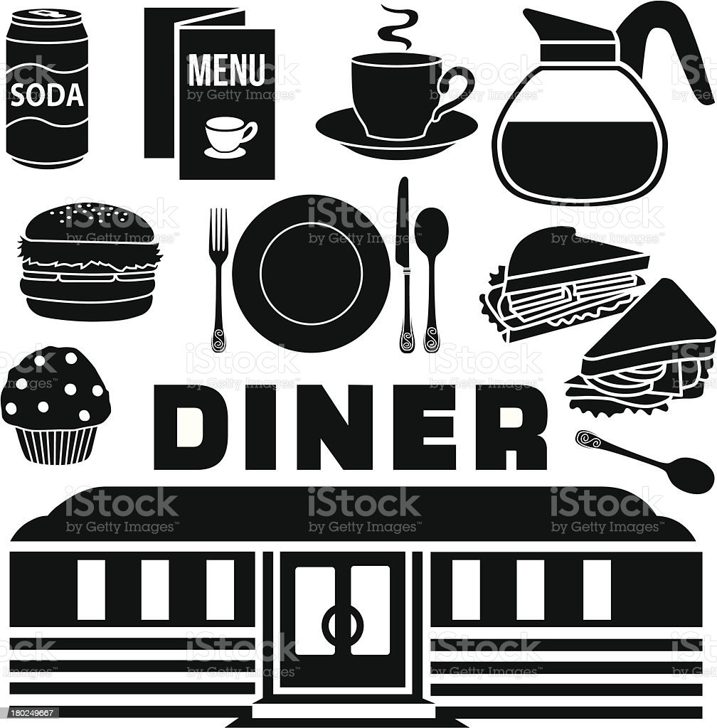 diner design elements vector art illustration