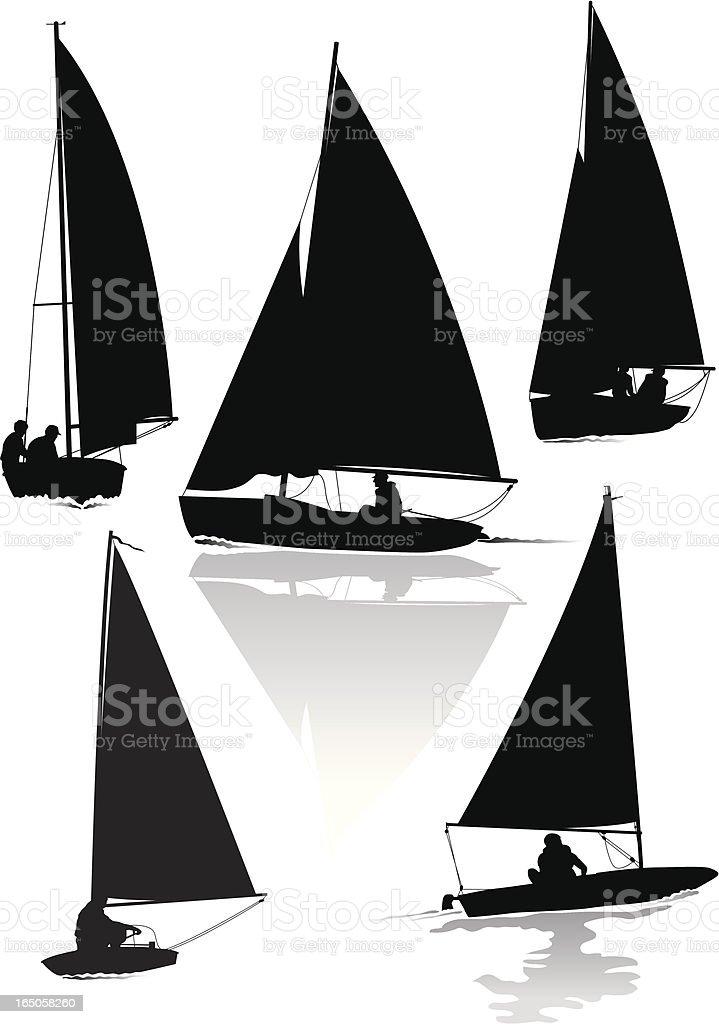 Dinghy sailing vector art illustration
