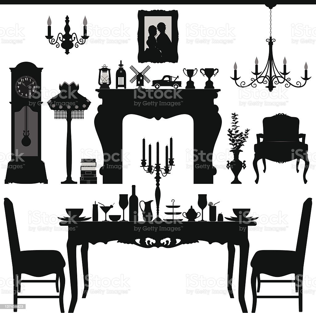 Dining Area Traditional Old Antique Furniture Interior Design vector art illustration