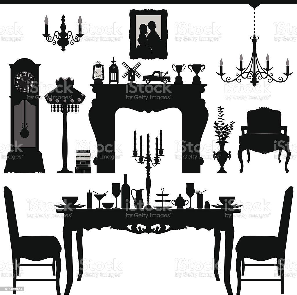 Dining Area Traditional Old Antique Furniture Interior Design vector art illustration
