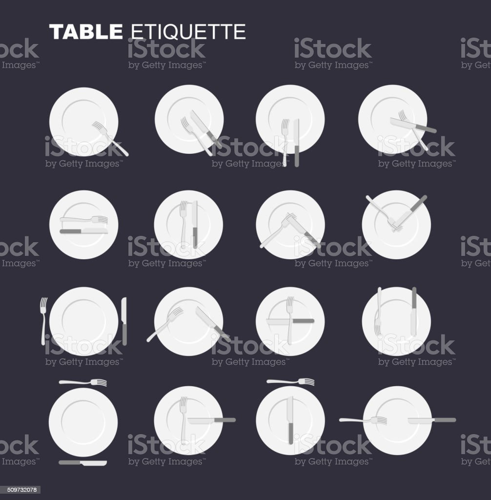 dining etiquette unofficial version. 16 characters to restaurant vector art illustration