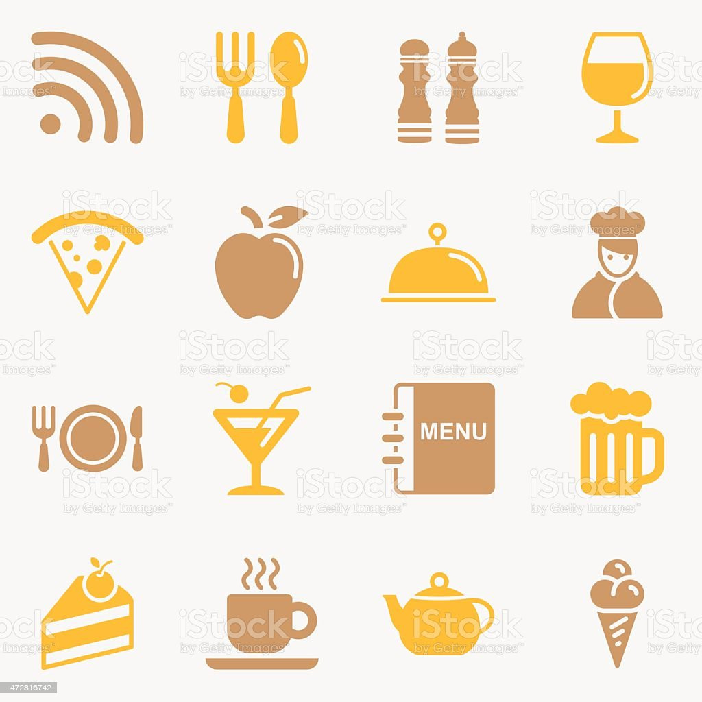 Dining Icons - Background vector art illustration