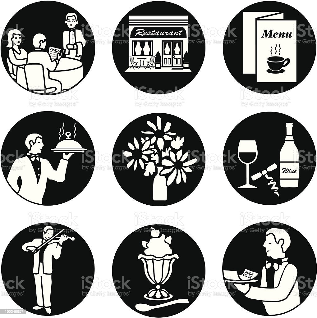 Dining out reversed vector art illustration
