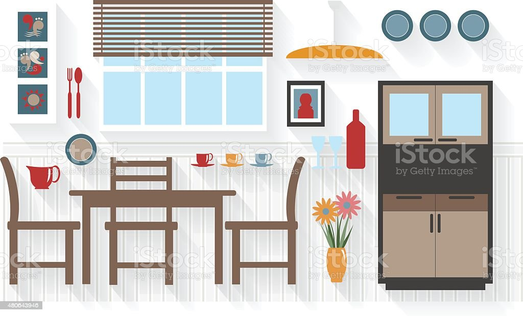 Dining Room Furniture with Table and Chairs Long Shadows vector art illustration