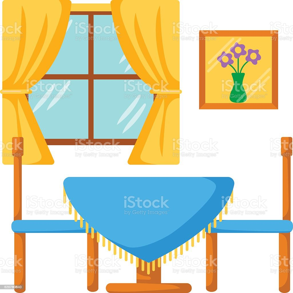 Dining room table and chairs clipart - Dining Room Interior Dinner Table With Chairs Royalty Free Stock Vector Art