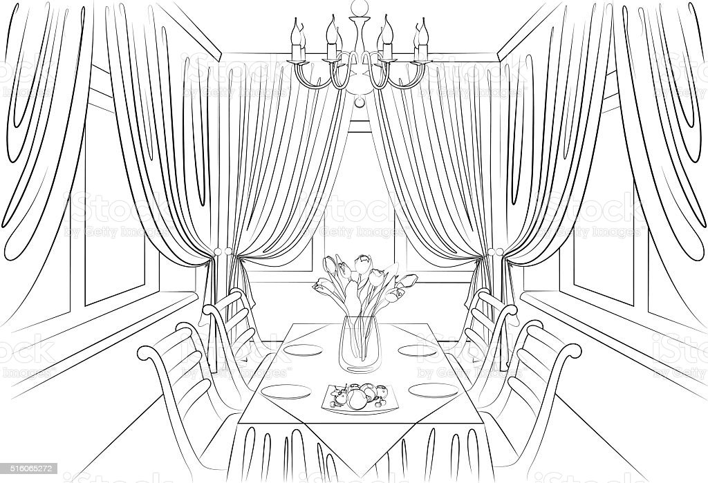 Dining Room Interior Pencil Sketch Royalty Free Stock Vector Art