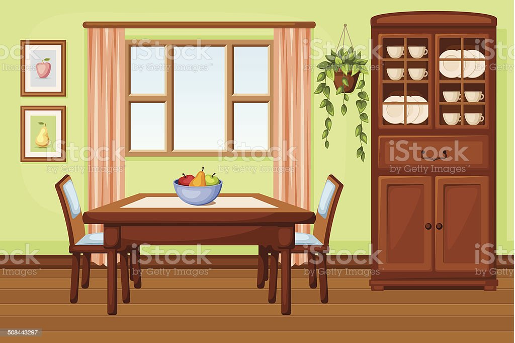 Dining room interior with table and cupboard. Vector illustration. vector art illustration