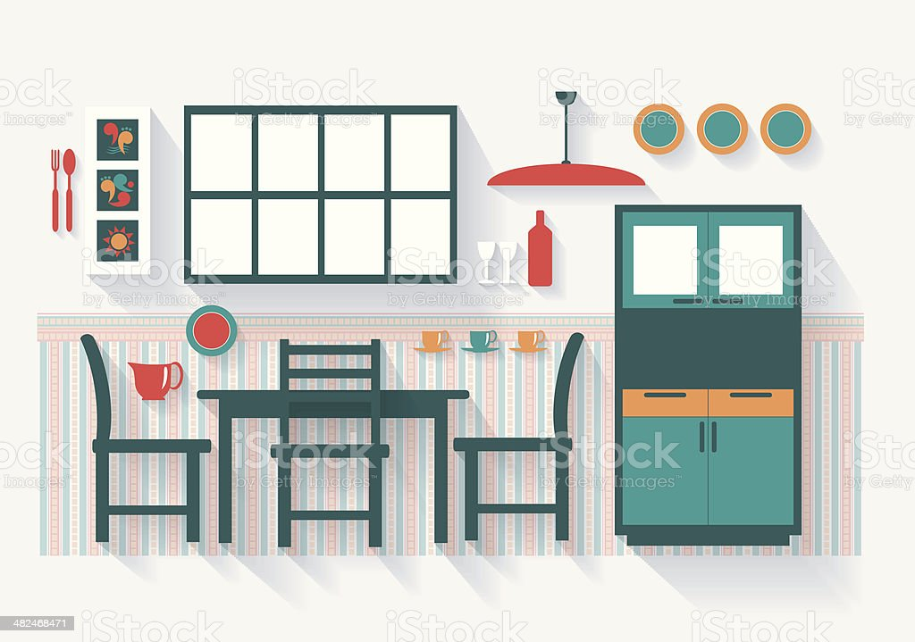 Dining Room with Furniture and Fittings Long Shadows vector art illustration
