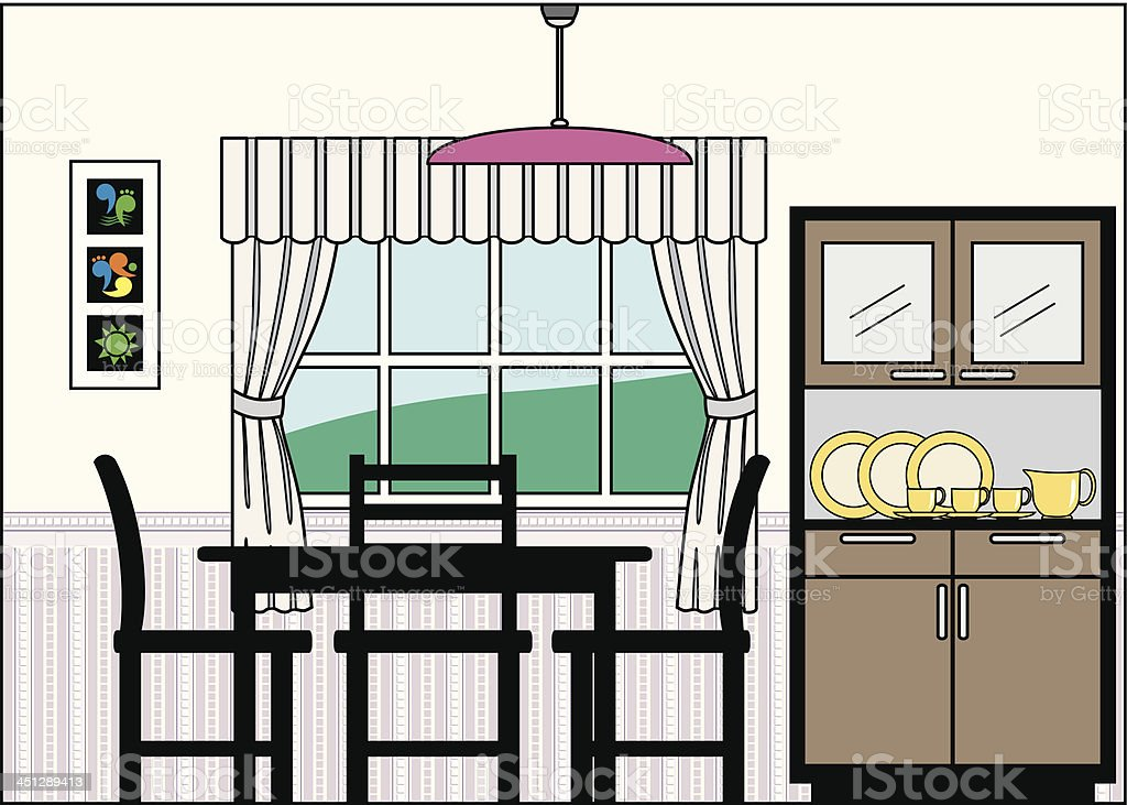 Dining Room with Furniture and Fittings vector art illustration