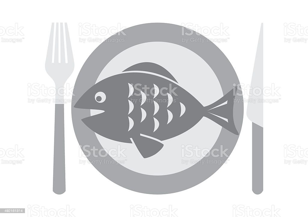 dining set and fish vector art illustration