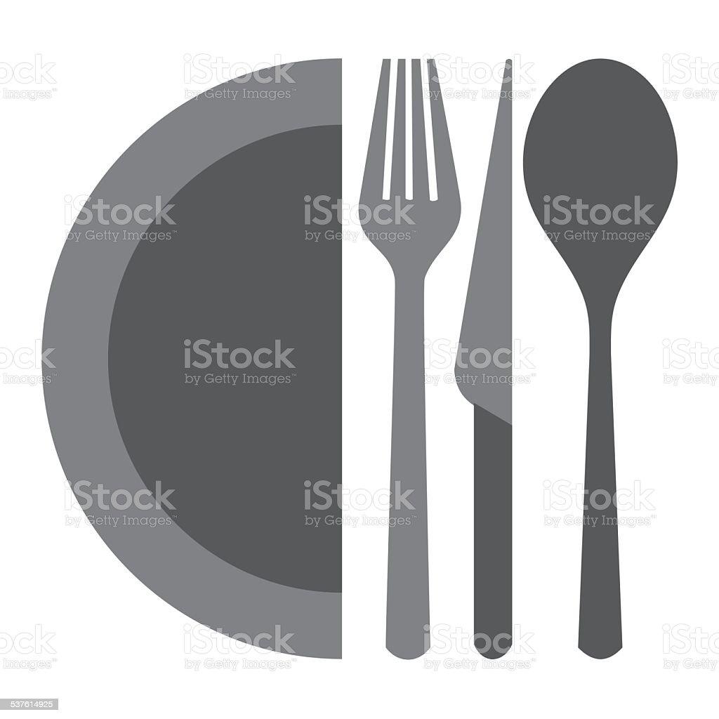 dining set vector art illustration
